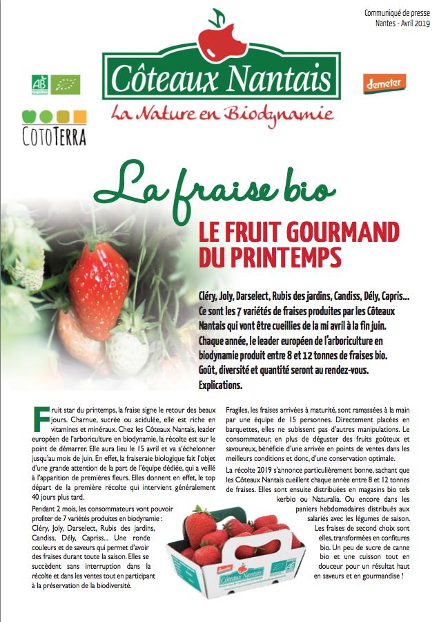 Communiqué de presse fraises bio
