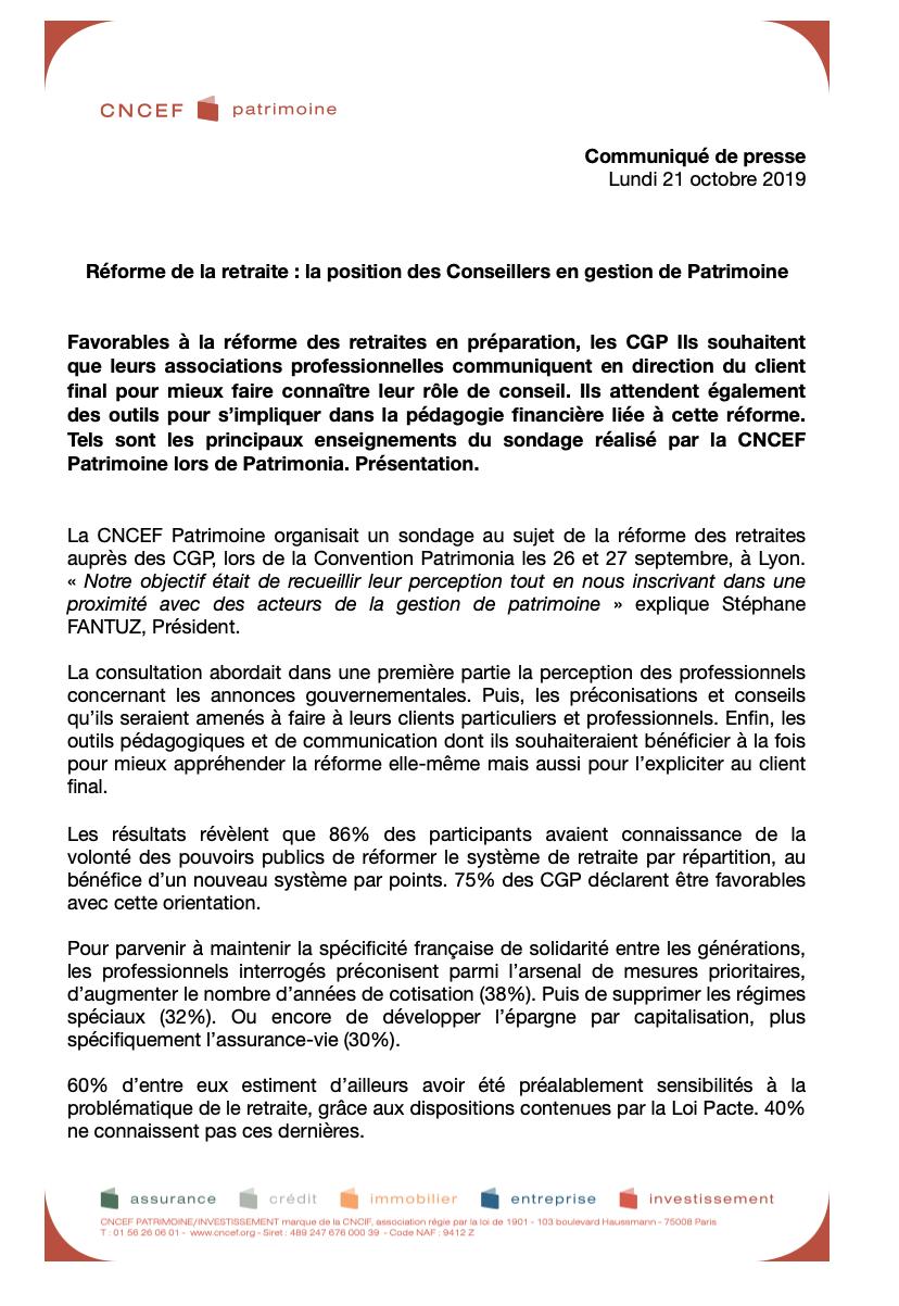 Communiqué de presse CNCEF Patrimoine