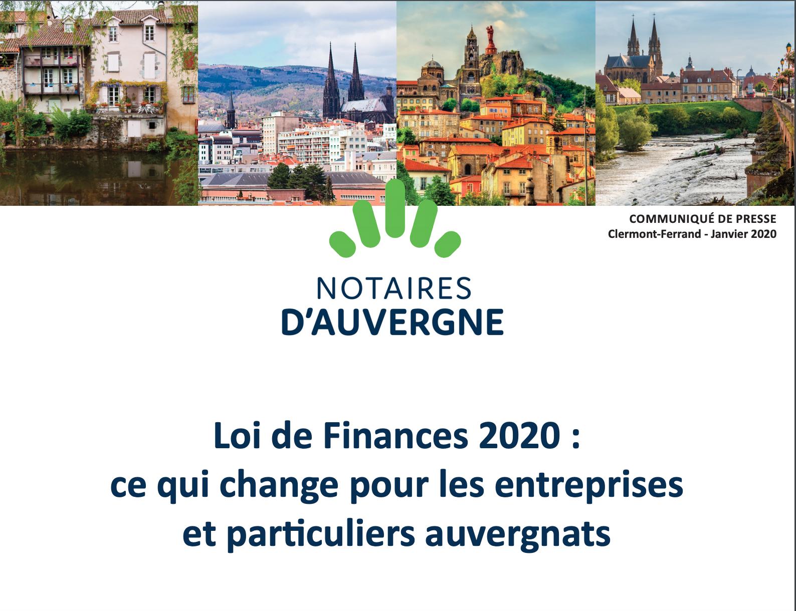 Communiqué PLF 2020 Notaires d'Auvergne