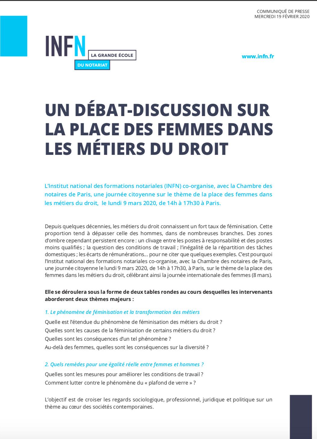 communiqué débat place des femmes INFN