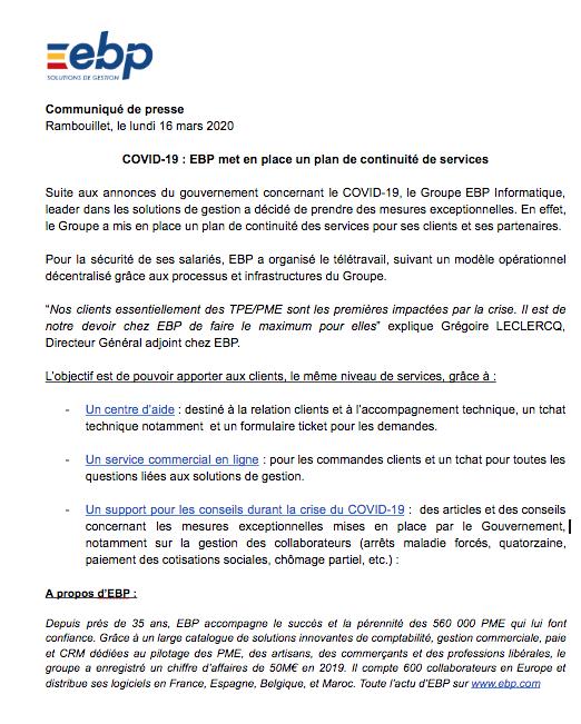 Plan de continuité de services EBP