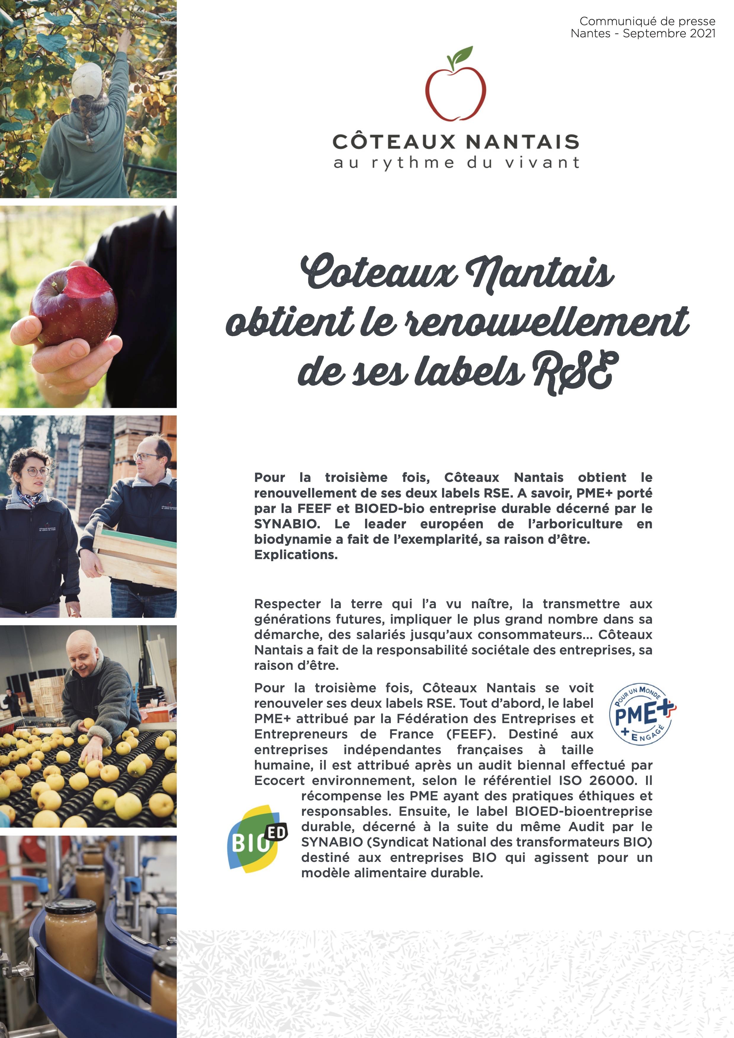Communiqué labels Côteaux Nantais